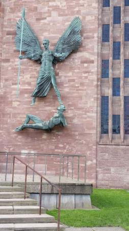 Coventry, UK: St Michael's statue at the cathedral entrance