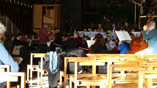 Coventry, UK: Orchestra rehearsal at the cathedral