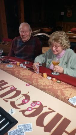 Philipsburg, มอนแทนา: Enjoying a little family poker on the beautiful poker table down stairs