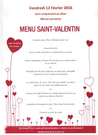 menu saint valentin picture of restaurant le m. Black Bedroom Furniture Sets. Home Design Ideas