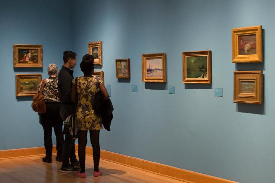 """Williams College Museum of Art: Visitors tour """"The Anxiety of Influence"""" at WCMA."""