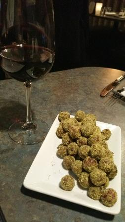 Elements Tapas Bar: Bleu cheese pistachio crusted grapes