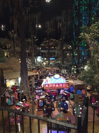 Bass Pro Shop: The view of the Mississippi River from the observation deck. The inside of the bass pro store, w