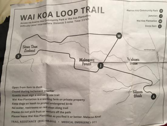 Kilauea, HI: The map of the trail