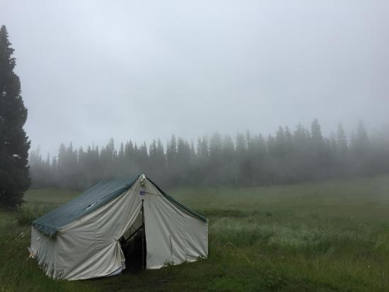 Gunnison, CO: One of the tents on a foggy spring day