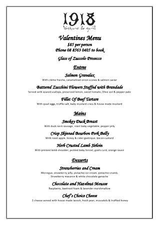 valentines day menu 85pp picture of 1918 bistro and grill rh tripadvisor com au