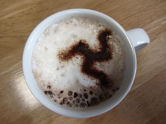 Laxey, UK: hot chocolate with triskelion!