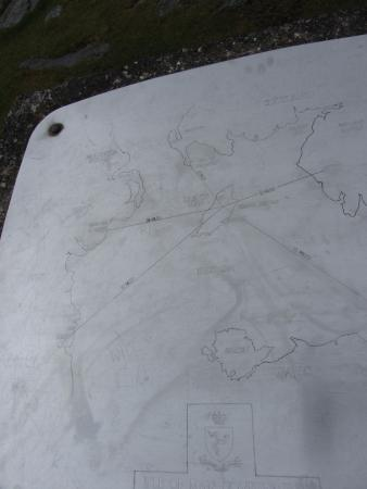 Laxey, UK: Snaefell Mountain summit marker map