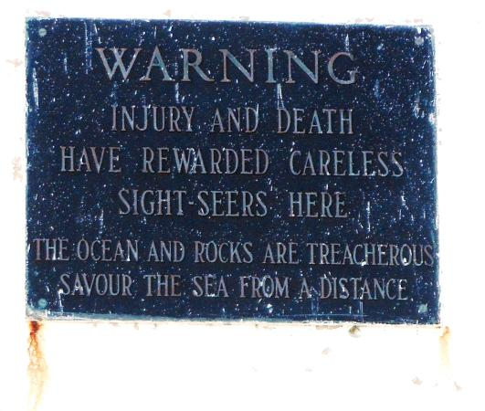 Warning plaque on Peggy's Cove Lighthouse