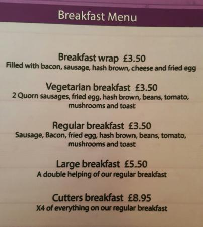 Wellingborough, UK: Breakfast Menu