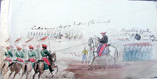 Страна Басков, Испания: Zumalakarregi dando órdenes, dibujado por Charles Frederick Henningsen
