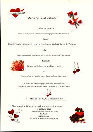 Alzonne, ฝรั่งเศส: Menu Saint Valentin