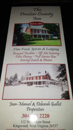 Kingwood, WV: More information and special menus and events