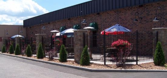 Sartell, MN: The Courtyard - outdoor dining at Great River Bowl & Partners Pub