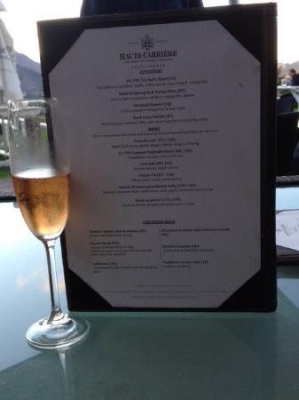 Haute Cabriere Restaurant : Menukaart
