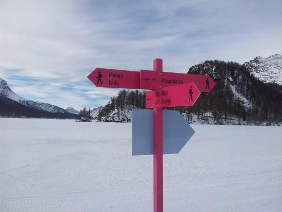 Sils im Engadin, Schweiz: Wegweiser mitten auf dem Silser See