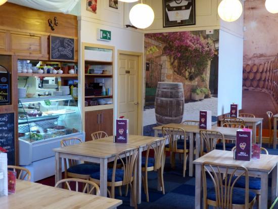 Garfield's Tapas and Wine Bar: display fridge plus walls