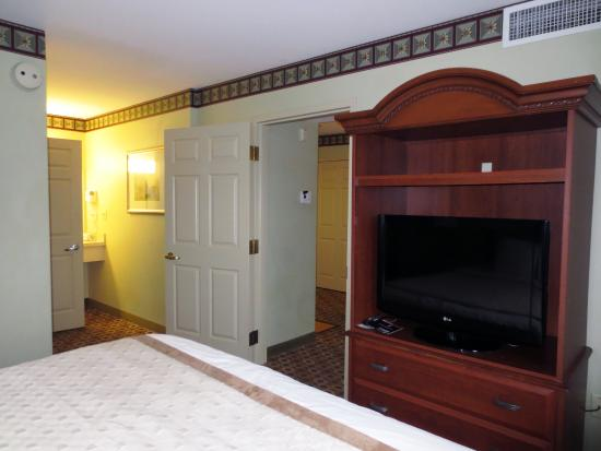Hawthorn Suites by Wyndham Franklin / Milford Area: There is a TV in the Bedroom and Living room.