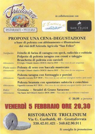 Grottaferrata, İtalya: CENA DEGUSTAZIONE A BASE DI POLENTA CON ABBINAMENTO E ILLUSTRAZIONE DI VINI