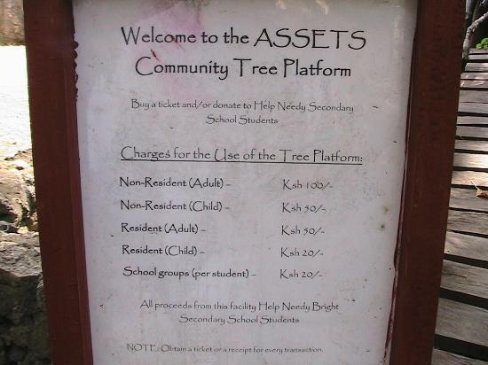 Gede, Kenia: 木のテラス料金表