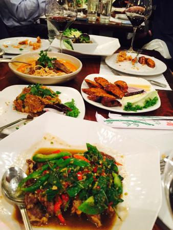 Lotus of Siam: Crispy duck with basil mint, pounded jack fruit, minced pork with lard were the best, yummy
