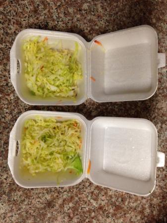 Suisun City, CA: Shredded lettuce instead of mixed veggies