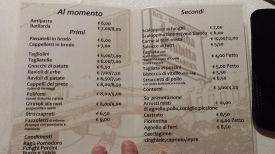 Verghereto, Italië: Il menù
