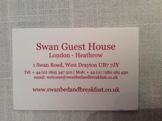 Swan Guest House LONDON - HEATHROW: Contact details