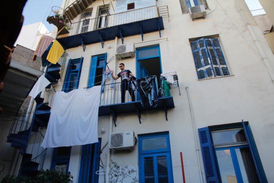 Hotel Dioskouros: Widok hotelu od podwórka