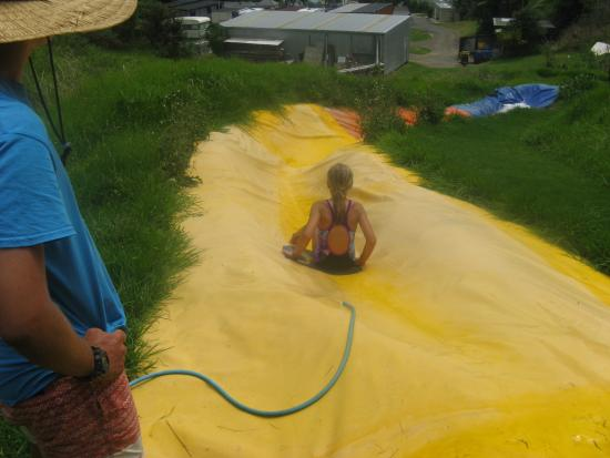 Opotiki, Selandia Baru: Water slide (awesome view from the top)