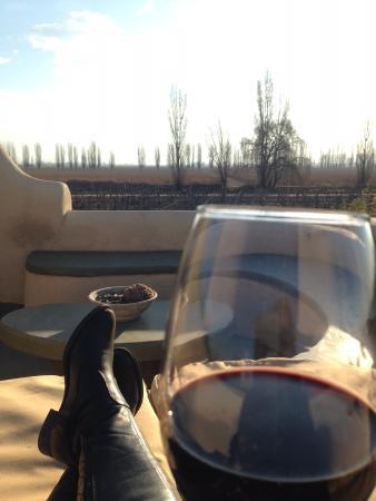Cavas Wine Lodge: Terraço dos quartos, com lareira também.