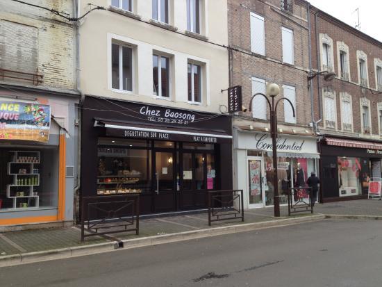 Romilly-sur-Seine, Frankrig: L'enseigne du traiteur vu de l'extérieur