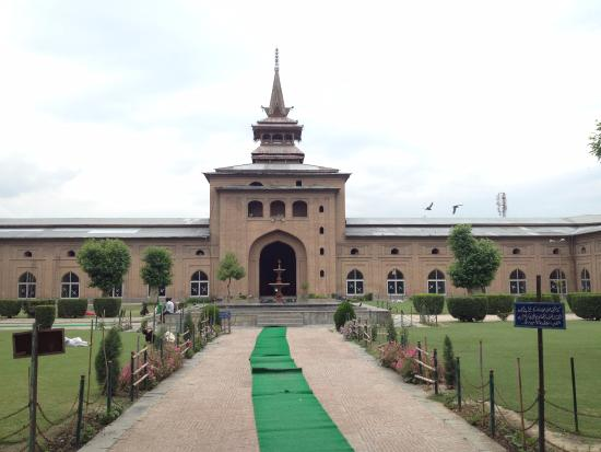 Jama Masjid Mosque: When a person enters into the garden inside.