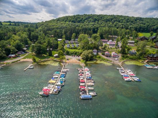 Lake N Pines Motel: Aerial from Otsego Lake