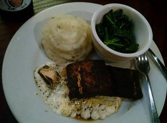 Liberal, KS : Blackened Salmon, jalapeno mashed potatoes and sauted spinach