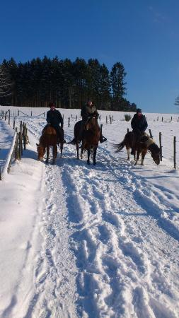 Lindlar, Niemcy: Ausreiten im Schnee