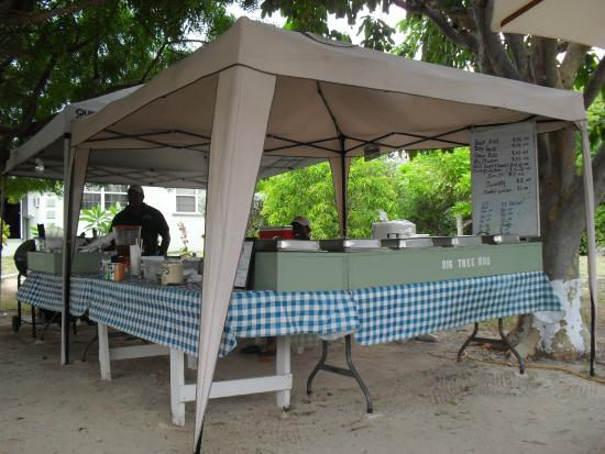Gun Bay, Wielki Kajman: Real local food served under the big tree in someone's garden. Have a local beer to wash it down