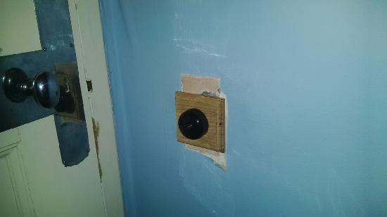 Dursley, UK: Shoddy new switch with holes in the plaster