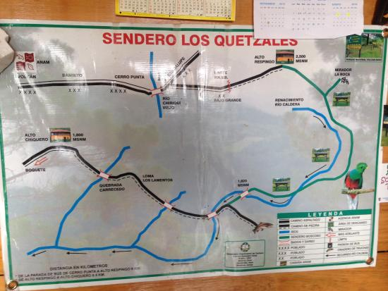 Sendero Los Quetzales (The Quetzales Trail): Trail map in Ranger Station