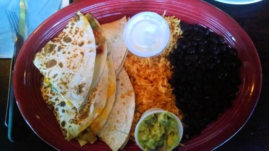 Indiantown, FL: Guatamex quesadilla with rice, black beans, guacamole, and sour cream