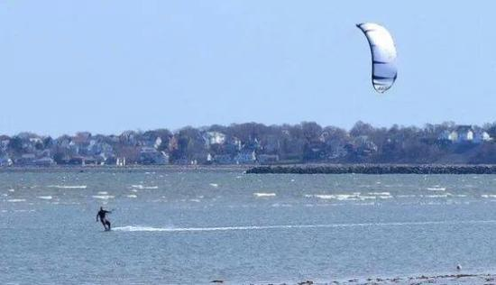 Kiteboarding at Revere Beach