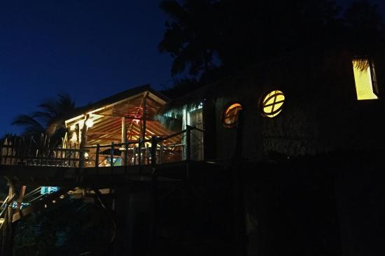Laborie, Sta. Lucía: The tree house at night.