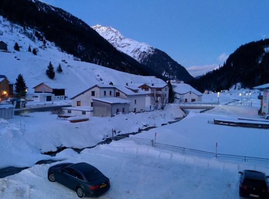 Galtür, Austria: View from the balcony in the direction of Ischgl