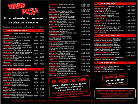Nerac, Francia: Carte des pizzas