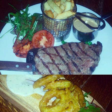 Caerphilly, UK: Sirloin steak, chips and garlic sauce (above) Calamari (below)