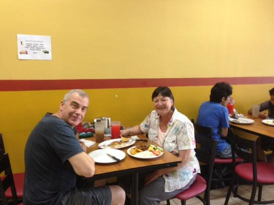 Enjoying our meal at Soda Yogui's