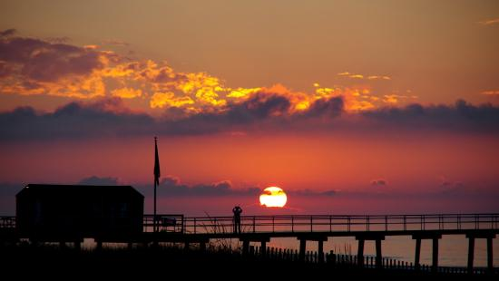 Ventnor City, NJ: Sunrise on the Ventnor Boardwalk.