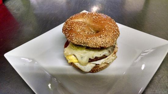 North Adams, MA: fresh bagel,egg,sausage,cheddar,pepperoncini
