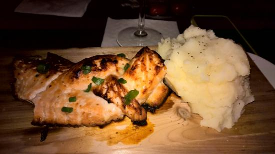 Livonia, MI: Salmon on a cedar plank with Mashed potatoes