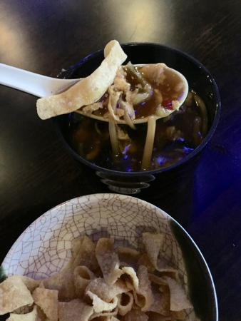 Pittsboro, NC: Hot and sour soup; separate bowl of crispy noodles